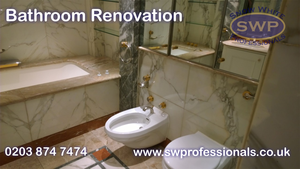 marble tiles, new bath, toilet and bidet