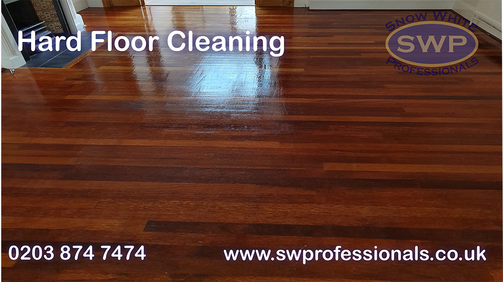 Wooden hard floor cleaned and polished