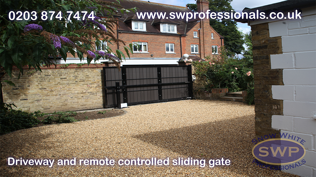 Remote controlled sliding door made from a metal frame and composite cladding